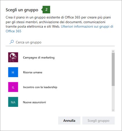 Screenshot della finestra di dialogo Scegli gruppo