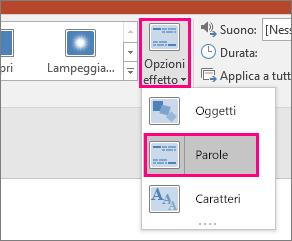 Visualizza il menu Opzioni effetto per la transizione Morphing con l'opzione Parole selezionata.