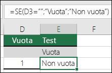 """Verificare se una cella è vuota: la formula nella cella E2 è =SE(VAL.VUOTO(D2);""""Vuota"""";""""Non vuota"""")"""