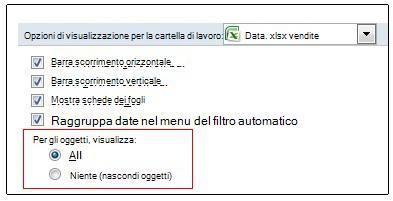 Opzioni per visualizzare e nascondere oggetti nella finestra di dialogo Opzioni di Excel