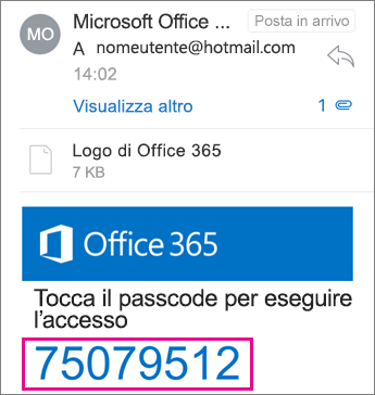 Visualizzatore Crittografia messaggi di Office 365 - Passcode ricevuto