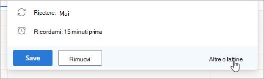 Screenshot del pulsante altre opzioni