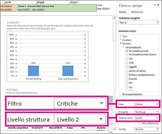 report informazioni generali progetto con riquadro dati grafico aperto