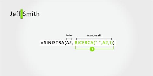 Formula per l'estrazione di un nome