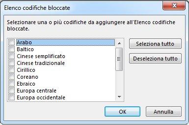 Finestra di dialogo Elenco codifiche bloccate