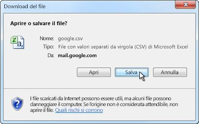 Finestra di dialogo di download del file