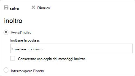 Una schermata mostra la finestra di dialogo inoltro con l'inizio selezionata l'opzione di inoltro.