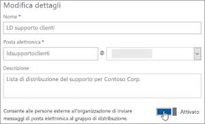 Screenshot: spostare l'interruttore su Attivato per consentire ai membri esterni di inviare a una lista di distribuzione