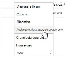 Opzione Aggiungi a spostamento da un elenco di pagine