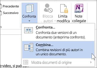 comando combina nel menu confronto