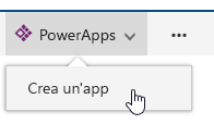 Selezione di PowerApps e opzione di creazione di un'app.