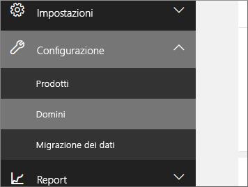 Fare clic su Configurazione, quindi su Domini