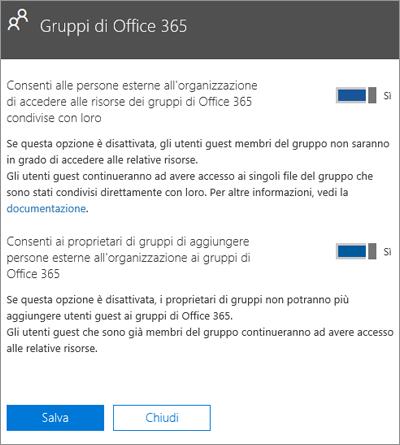 Consentire alle persone esterne all'organizzazione di accedere ai gruppi e alle risorse di Office 365