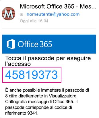 Visualizzatore Crittografia messaggi di Office 365 con Yahoo 4