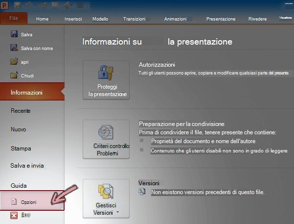 Nella scheda File sulla barra multifunzione in PowerPoint 2010 fare clic su Opzioni