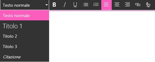 Screenshot dell'area di modifica dell'Editor testo RTF in SharePoint.