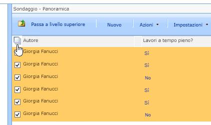 Nella schermata Gestione siti con l'opzione Sondaggio selezionata fare clic sull'icona Seleziona tutto.