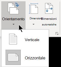 Nel menu Orientamento della scheda Progettazione è possibile selezionare Orientamento verticale o Orizzontale per una pagina di Visio.