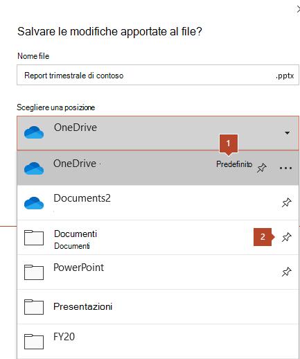 La finestra di dialogo Salva in Microsoft Office 365 che mostra un elenco di cartelle.