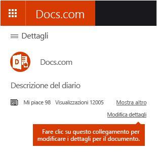 Opzione Modifica dettagli in Docs.com