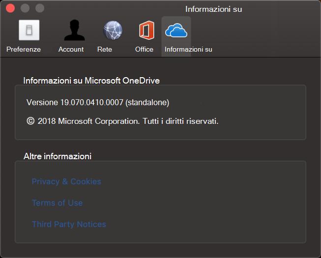 OneDrive per Mac su UI