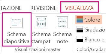 Nella scheda Visualizza fare clic su Schema diapositiva.