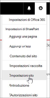 Impostazioni di sito dalla raccolta documenti