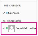 Outlook Web App con un calendario della cassetta postale condivisa selezionato