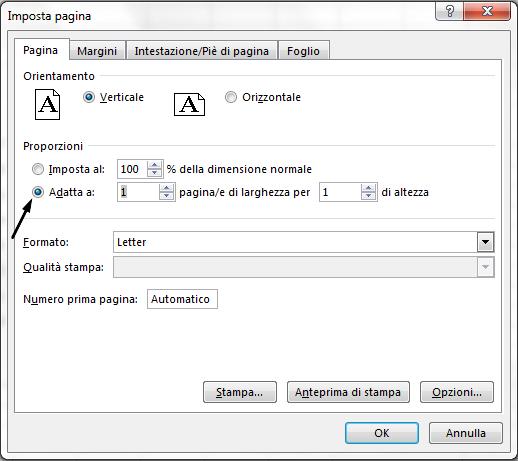 """Opzione """"Adatta a"""" nella finestra di dialogo Imposta pagina."""