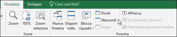 Nascondere o visualizzare una cartella di lavoro dalla visualizzazione > Windows > nascondere/scoprire