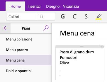 Schermata che mostra un contenitore di note in una pagina in OneNote