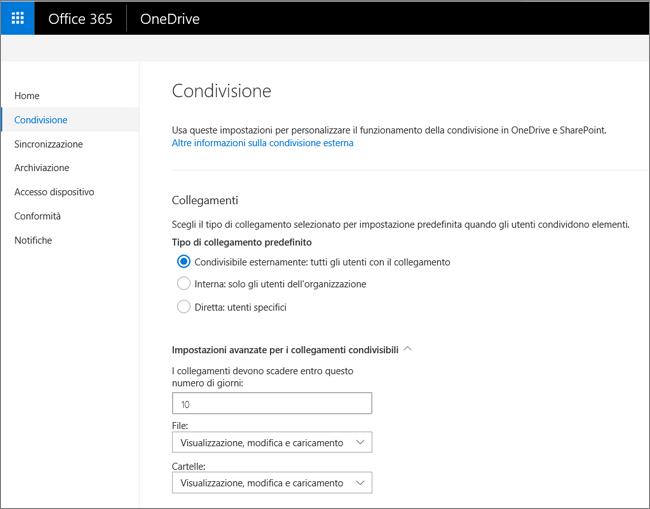 Impostazioni relative ai collegamenti nella pagina Condivisione dell'interfaccia di amministrazione di OneDrive
