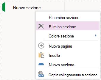 Opzione di menu Elimina sezione in OneNote Online.