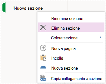 Opzione di menu Elimina sezione in OneNote per il Web