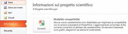 Convertire la presentazione a PowerPoint 2010