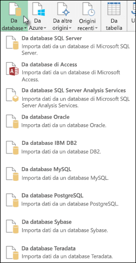 Opzioni Da database di Power Query