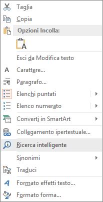 "Opzione ""Ricerca intelligente"" in PowerPoint"