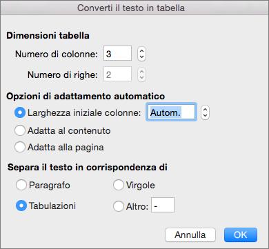Opzioni per convertire il testo in tabella