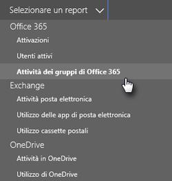 Selezionare un report - Gruppi di Office 365