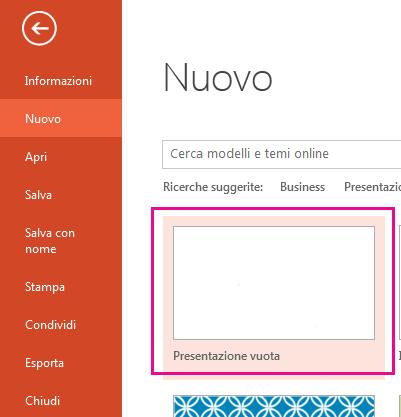 Nella schermata Nuovo scegliere Presentazione vuota.