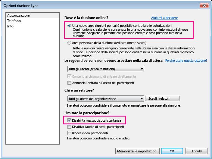 Schermata dell'opzione Disabilita messaggistica istantanea nella finestra delle opzioni per la riunione Lync