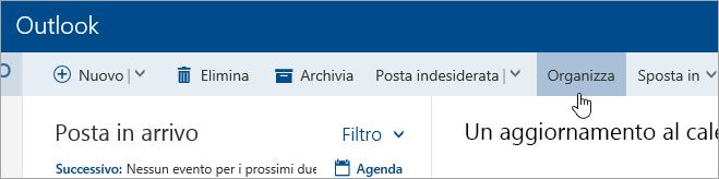 Screenshot del pulsante Organizza