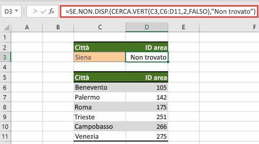 Immagine dell'uso di IFNA con CERCA.VEN per impedire la #N errori di #N/D.