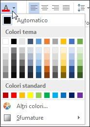 Tavolozza dei colori dei caratteri