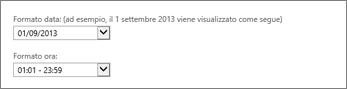 Impostazioni del formato di data e ora di Outlook Web App