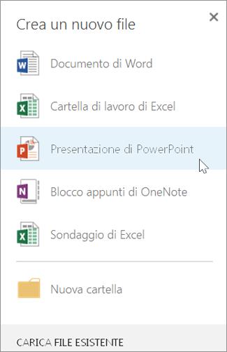 Creare una nuova presentazione di PowerPoint