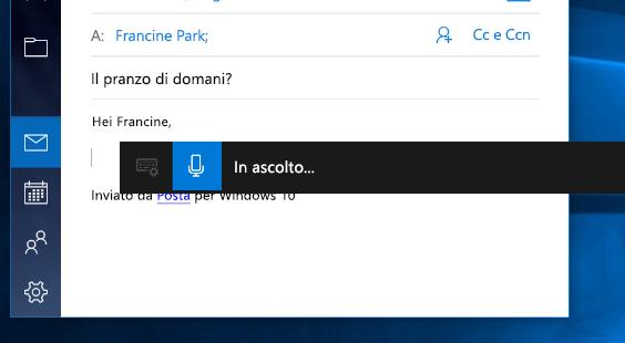 Barra degli strumenti di dettatura in Windows