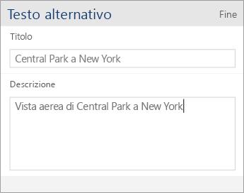 Screenshot della finestra di dialogo Testo alternativo di Word Mobile con i campi Titolo e Descrizione.