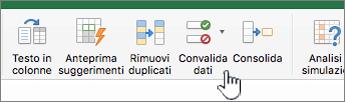 Menu di dati della barra degli strumenti di Excel con l'opzione Convalida dati selezionata