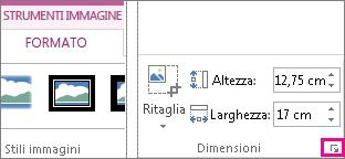 pulsante di visualizzazione della finestra di dialogo nel gruppo dimensioni della scheda strumenti immagine - formato